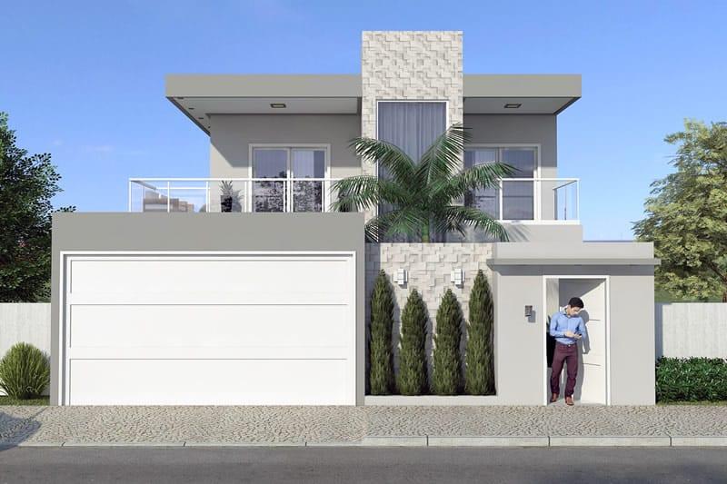 Planta de sobrado moderno com 3 quartos projetos de for Construir casas modernas