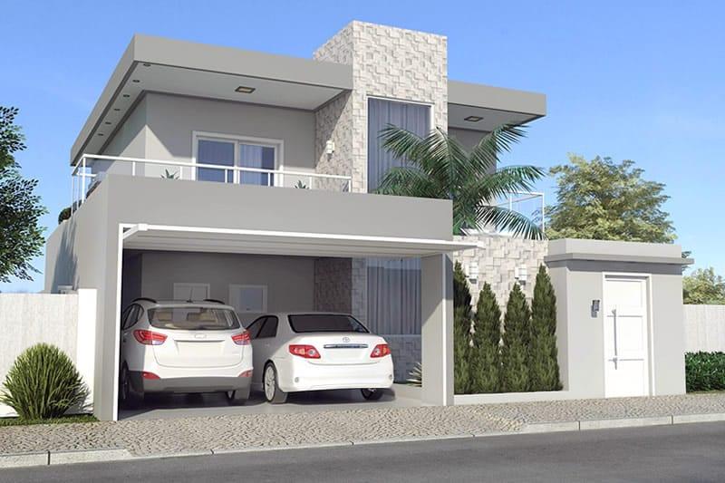 Planta de sobrado moderno com 3 quartos projetos de for Casa moderna 2 andares 3 quartos