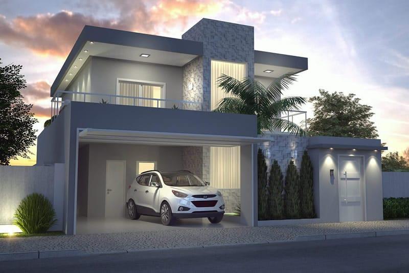 Planta de sobrado moderno com 3 quartos projetos de for Casa moderna gratis