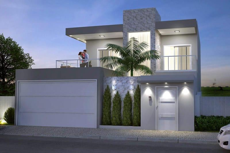 Planta de sobrado moderno com 3 quartos projetos de for Casa moderna 4 ambientes