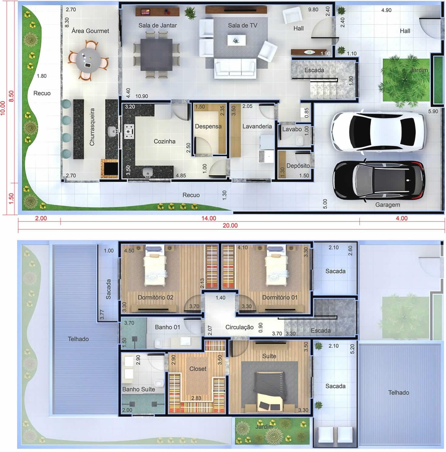 Planta de sobrado moderno com 3 quartos projetos de for Plantas de casas tipo 3 modernas