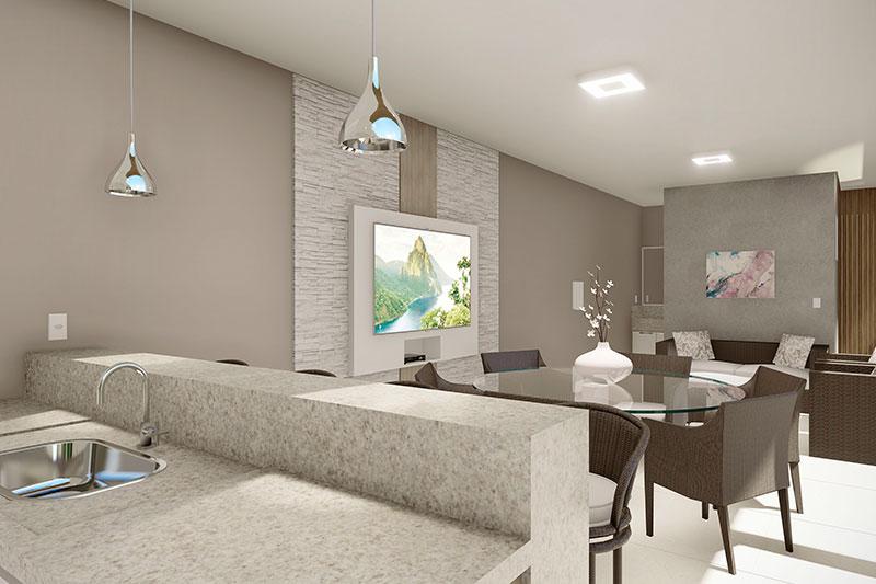 Área de lazer com sofá e tv