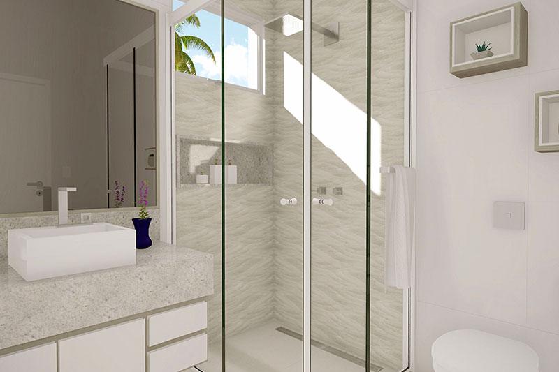 Banheiro em tons claros