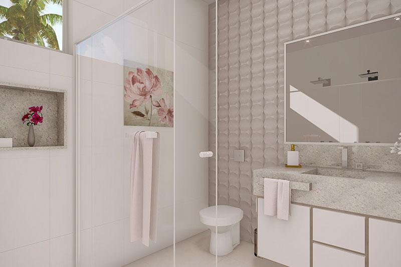 Banheiro de casal em tons claros