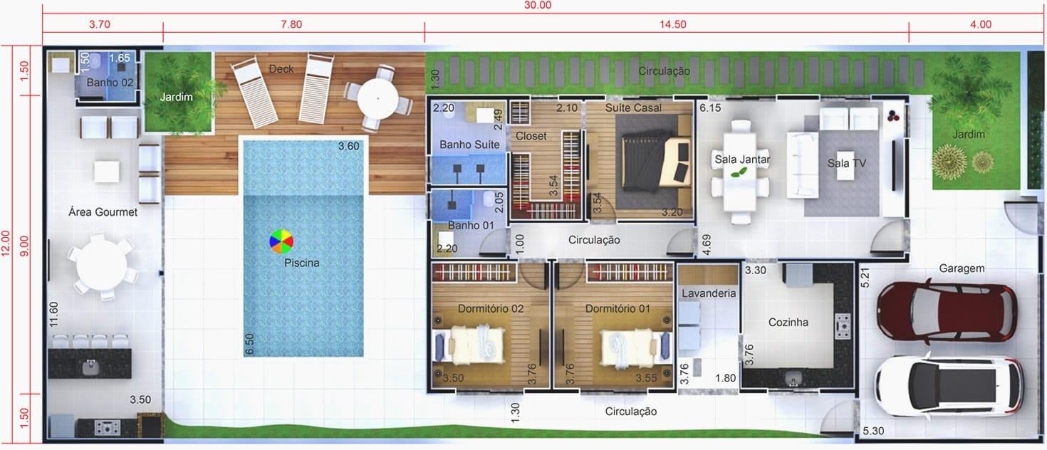 Planta de casa com edícula e piscina. Planta para terreno 12x30