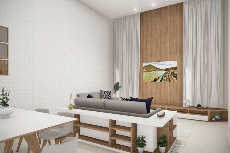 Sala de TV integrada com detalhe em madeira