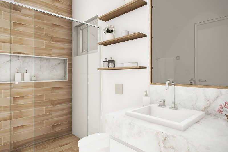 Banheiro com detalhes em madeira