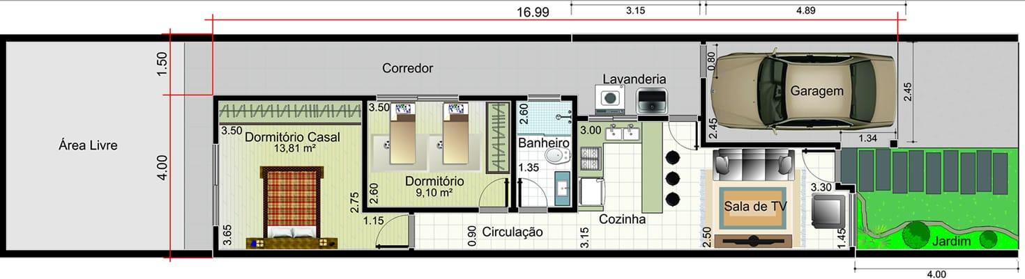 Planta de casa térrea com telhado embutido. Planta para terreno 5,50x25