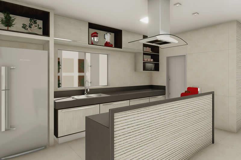 Cozinha com bancada cinza
