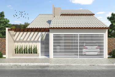 Planta de casa térrea com telhado a vista