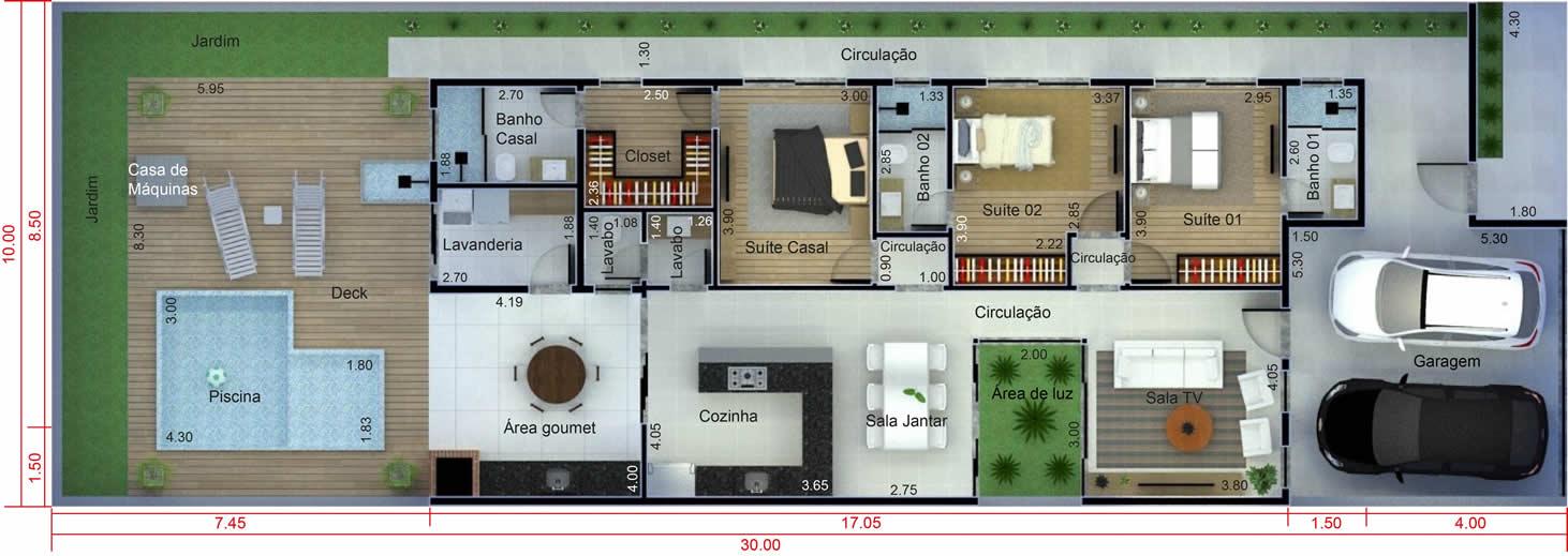 Populares Planta de casa térrea com telhado a vista - Projetos de Casas  TI86