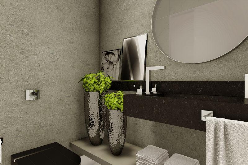 Banheiro com quadros