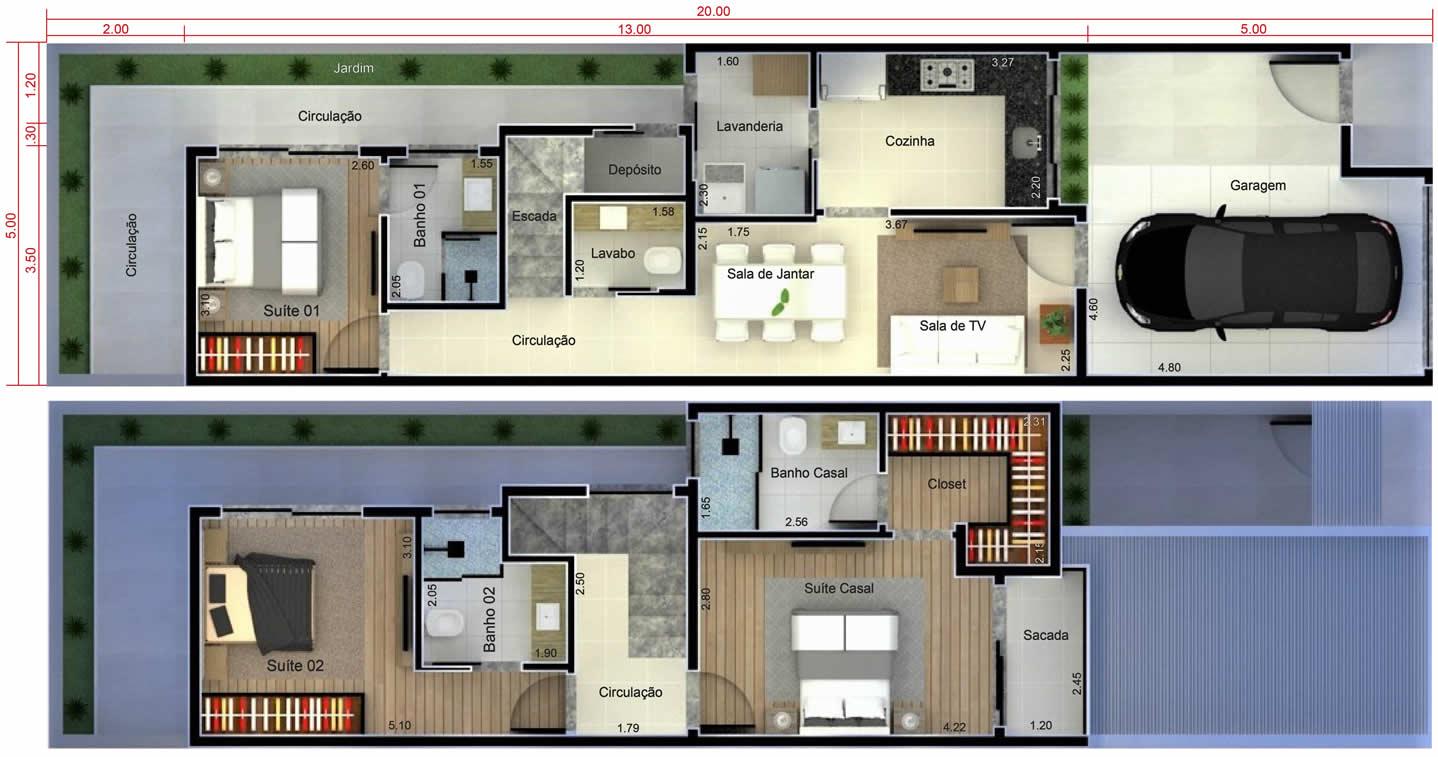 Planta de sobrado com quarto no t rreo projetos de casas for Planos de casas 5x25