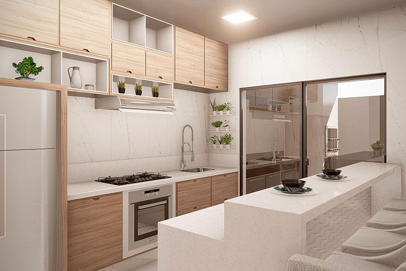 Cozinha com detalhes em madeira