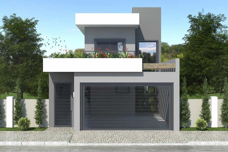 Casa Moderna 7x20 Of Planta De Sobrado Para Terreno De 7x20 Projetos De Casas