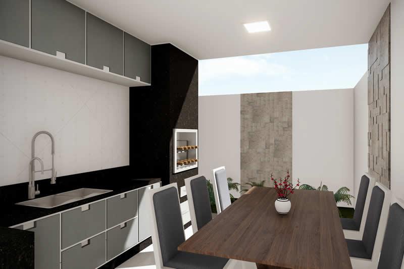 Área gourmet com mesa grande