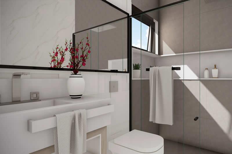 Banheiro com nicho branco