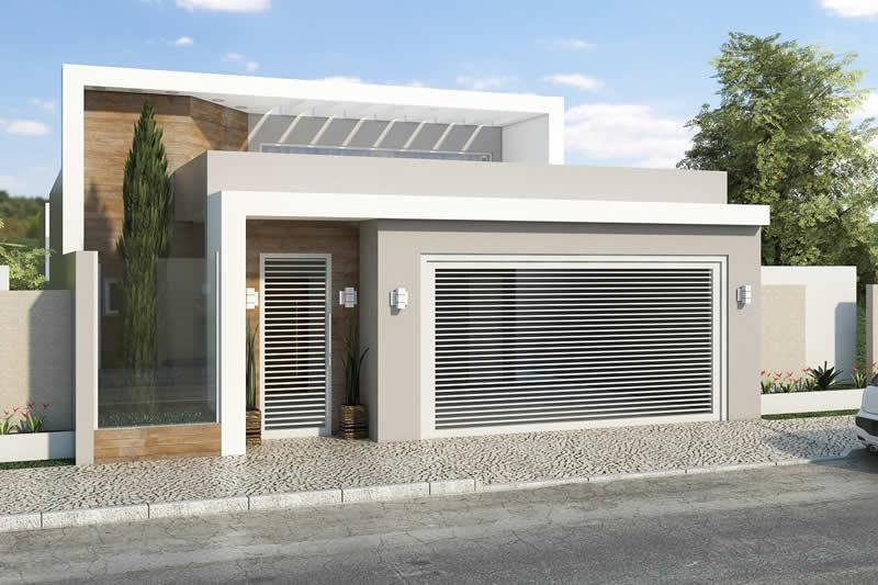 Casa com frente em madeira