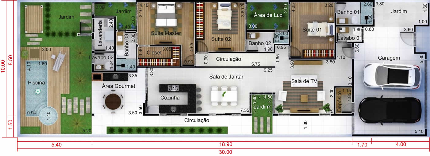 Populares Planta de casa com 3 quartos - Projetos de Casas, Modelos de Casas  ZN69
