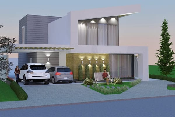 Planta de casa com design moderno