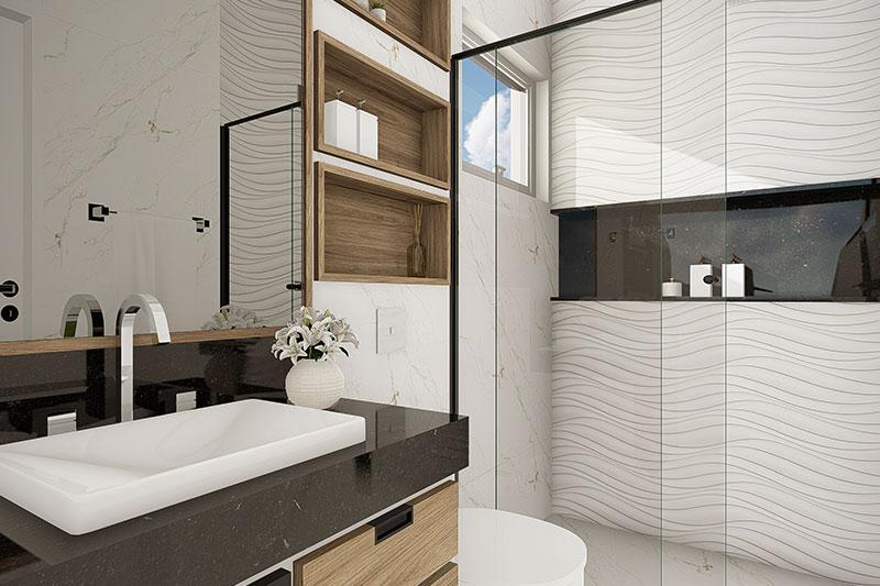Banheiro moderno com revestimentos em relevo