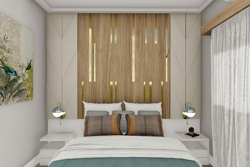 Quarto com cabeceira da cama em madeira