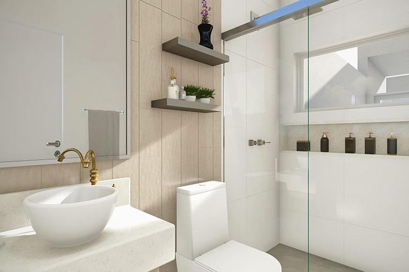 Banheiro com cuba redonda