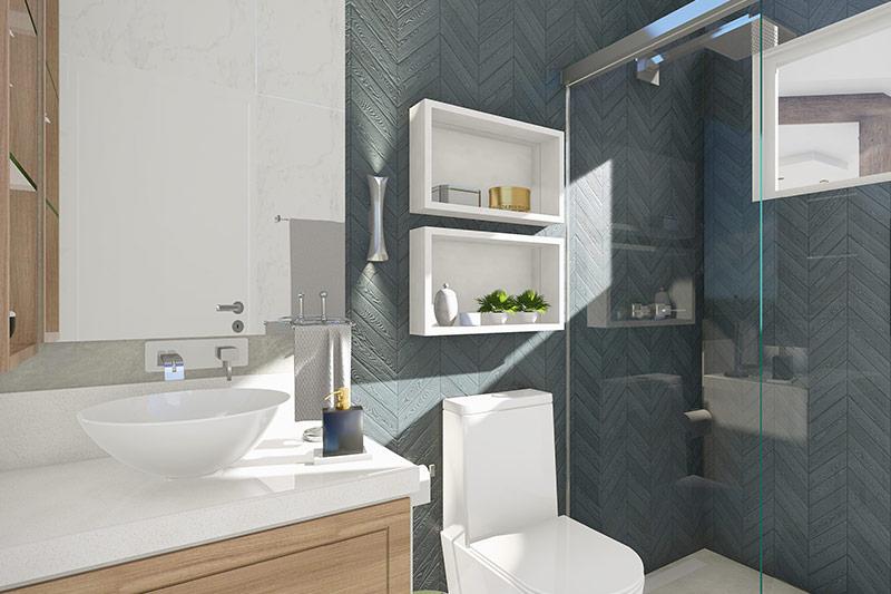 Banheiro com cores escuras