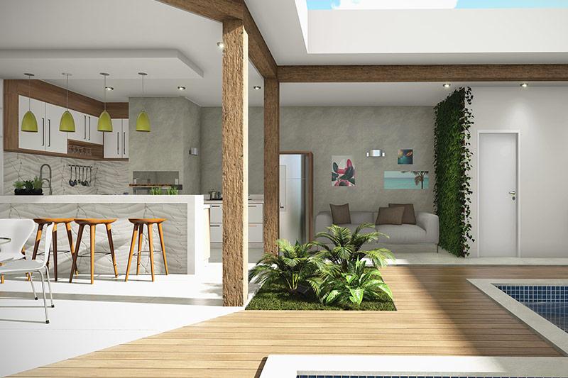Planta de casa térrea com edícula e piscina