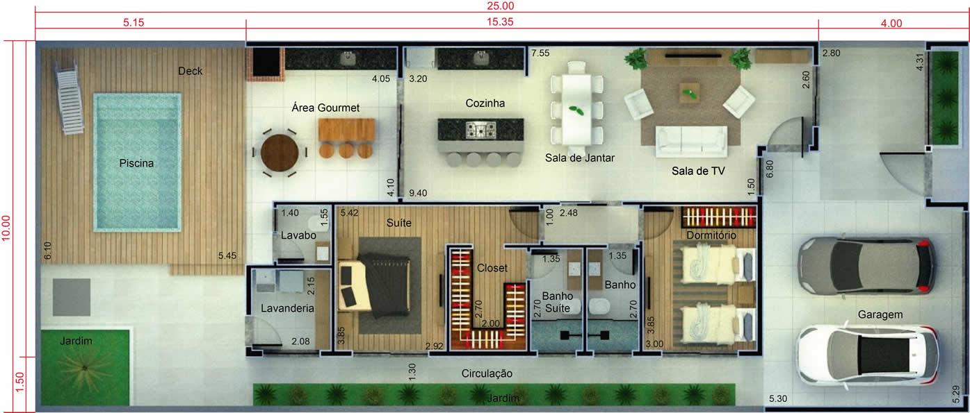 Plantas De Casas Com 1 Quartos 1 Suite E Cozinha Americana Plantas