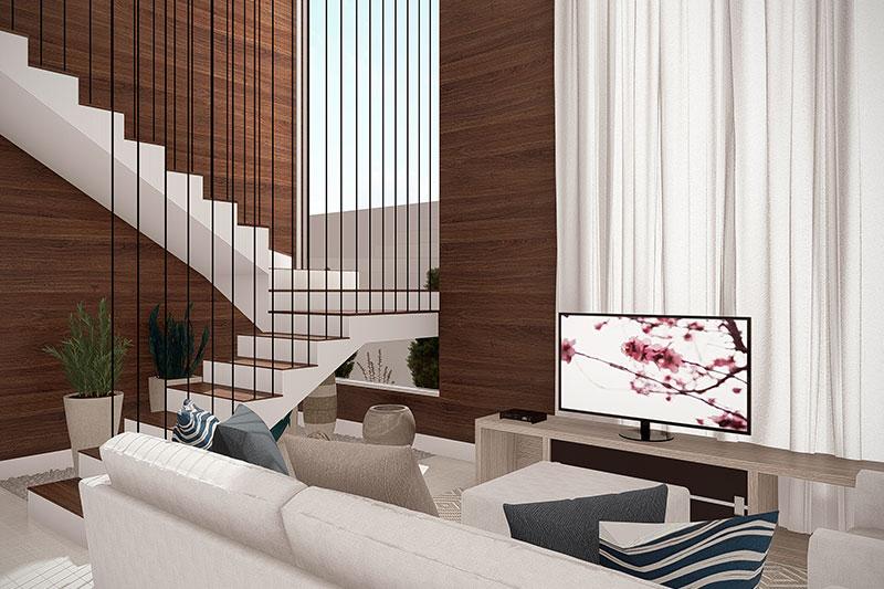 Sala de TV com escada vazada