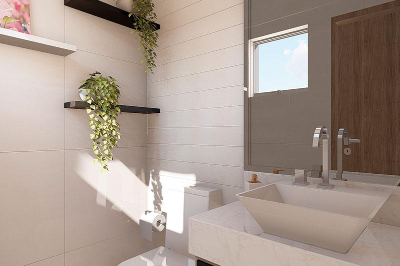 Banheiro externo contemporâneo
