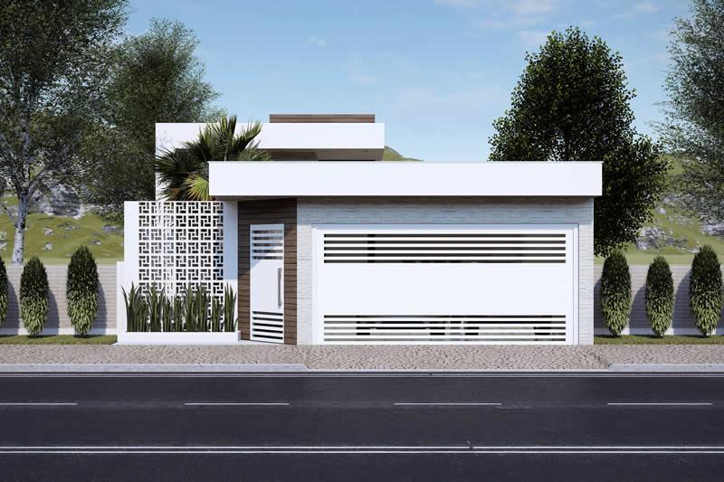 Planta de casa moderna com 2 quartos