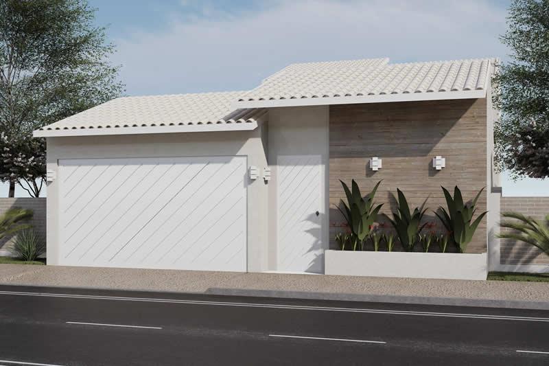 Fachada com portão branco