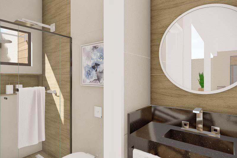 Banheiro com espelho redondo