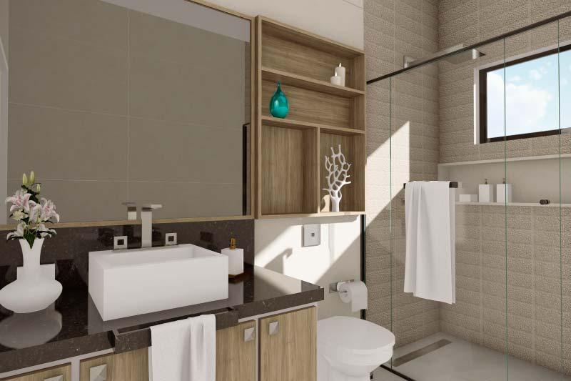 Banheiro em madeira moderno