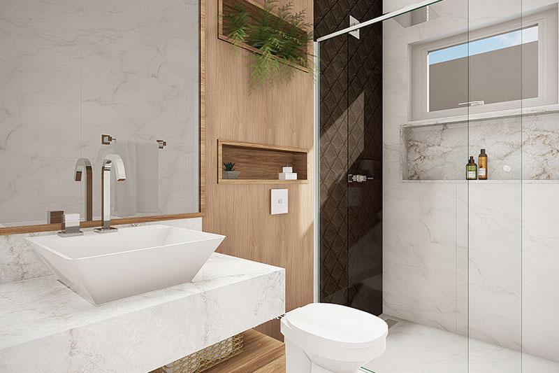 Banheiro com revestimentos semelhante a madeira