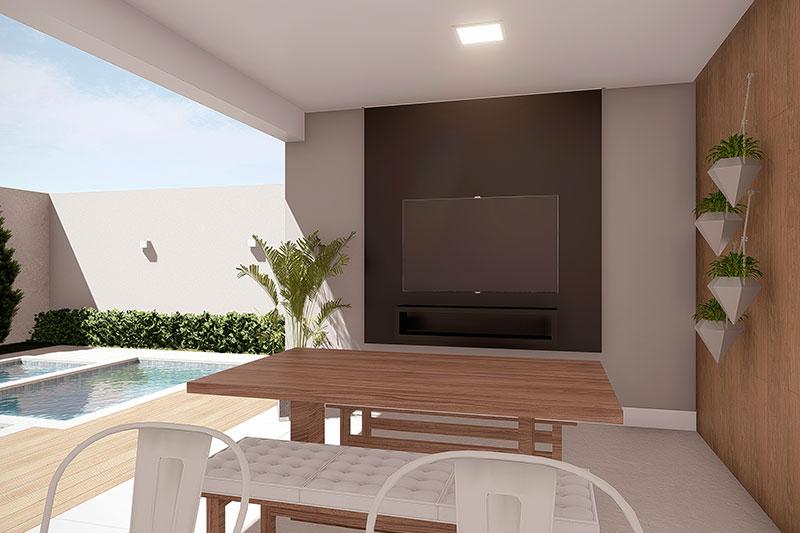Área externa com TV