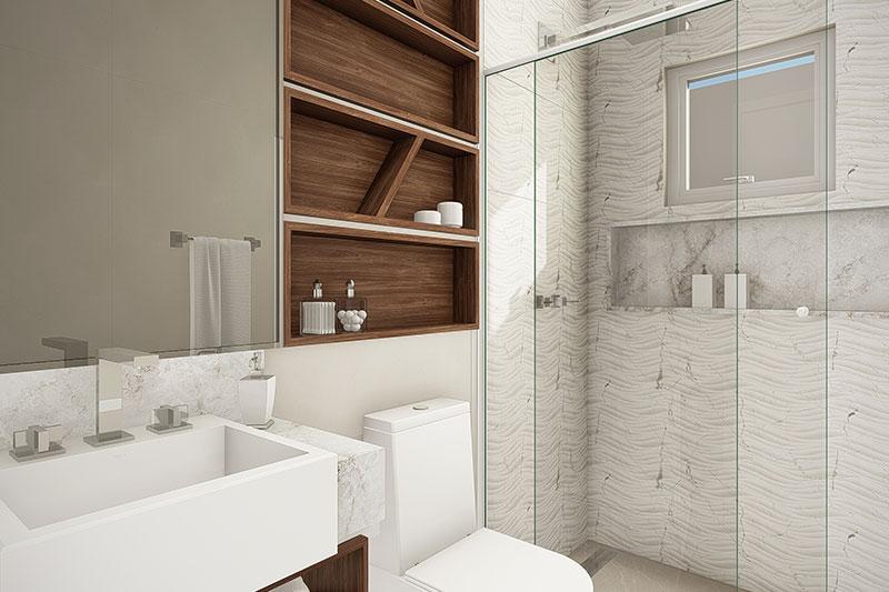 Banheiro com azulejo texturizado