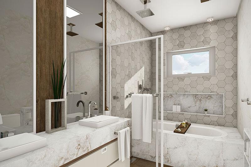 Banheiro de casal com banheira dentro do box