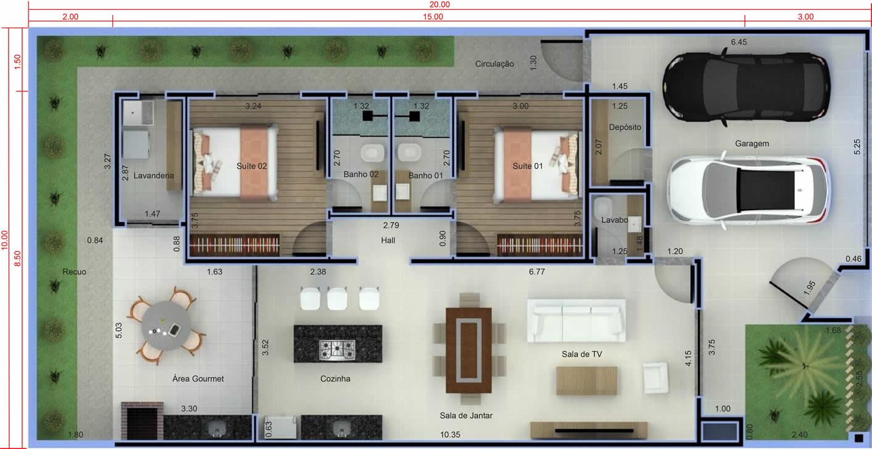 Planta de casa com 2 quartos e área gourmet. Planta para terreno 10x20
