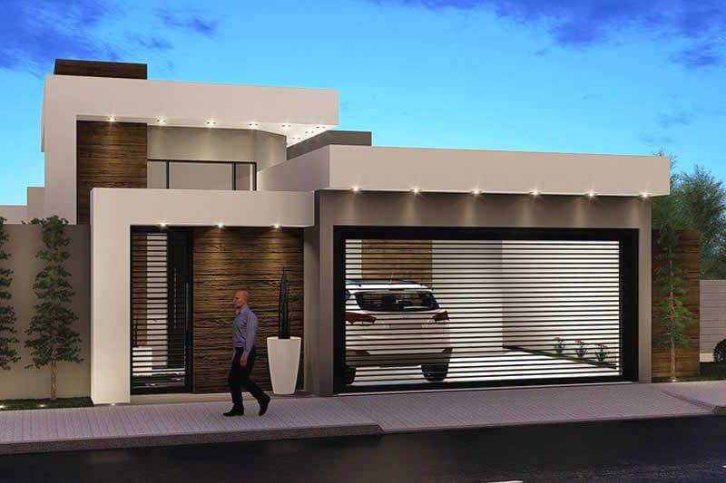 Casa moderna com portão basculante