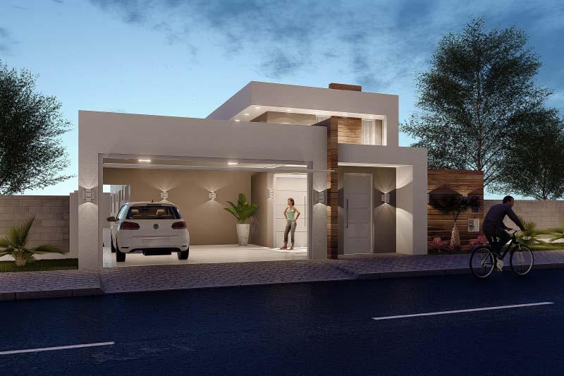 Casa térrea moderna com iluminação em led