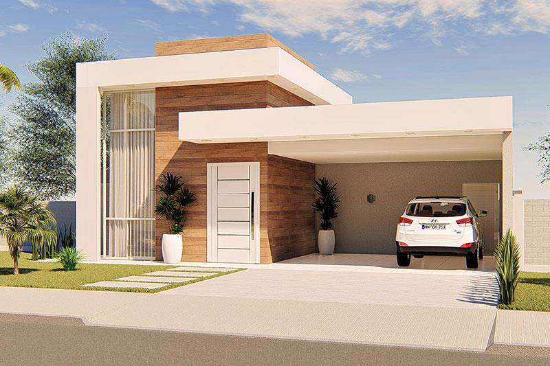 Planta de casa moderna com 4 quartos