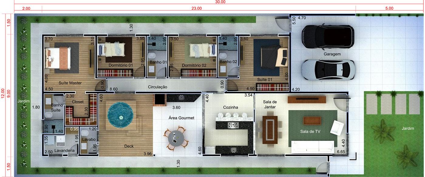 Planta de casa moderna com 4 quartos. Planta para terreno 12x30