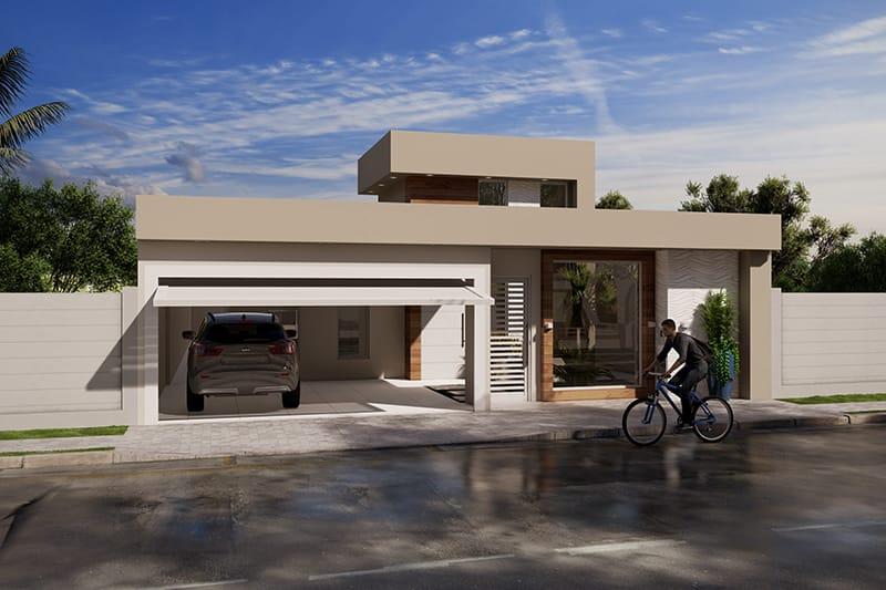 Planta de casa com 2 dormitórios e 1 suíte