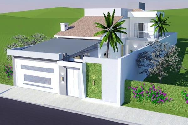 Planta de sobrado com quarto no t rreo projetos de casas for Casa moderna 7x20
