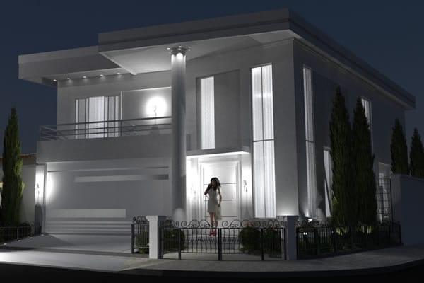 Casa com portão em esquina
