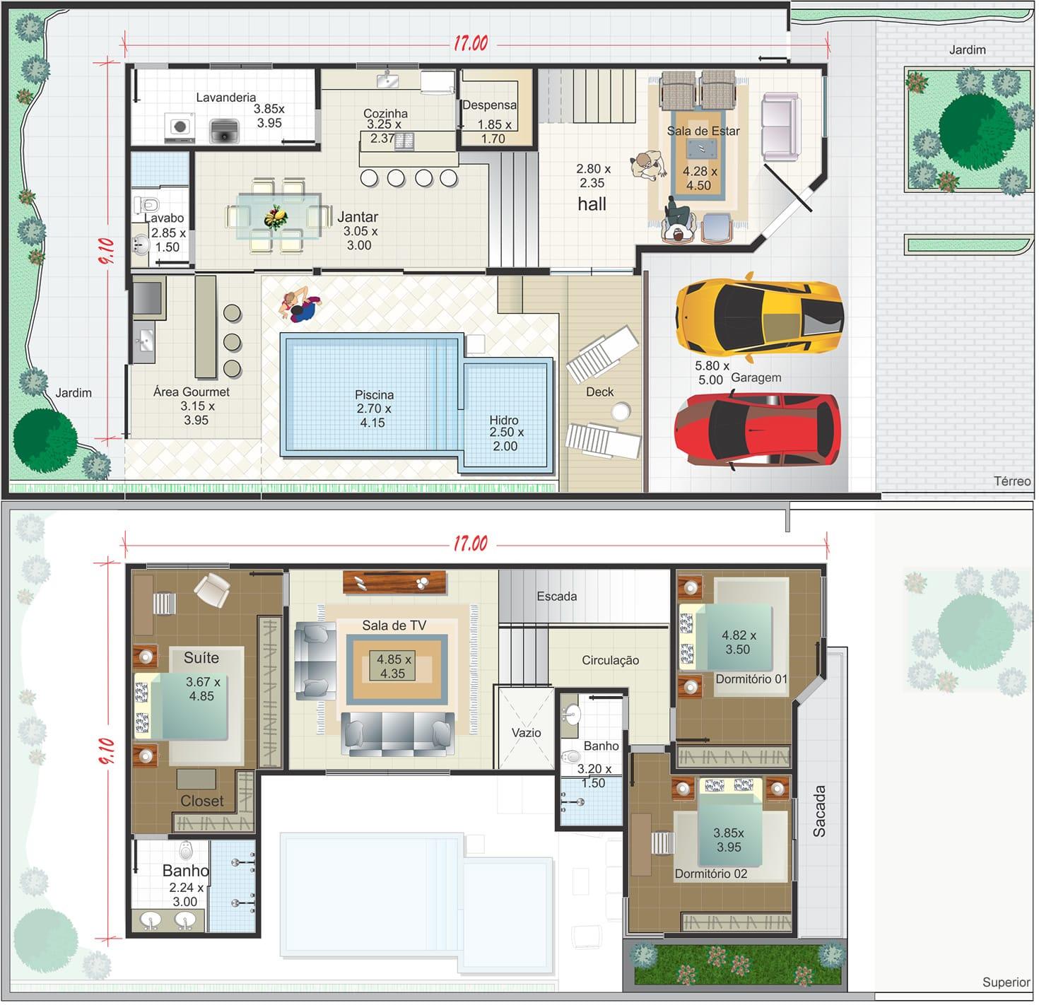 Arquitetura Integrando Pisos: Planta De Casa Sobrado Em L Com Piscina