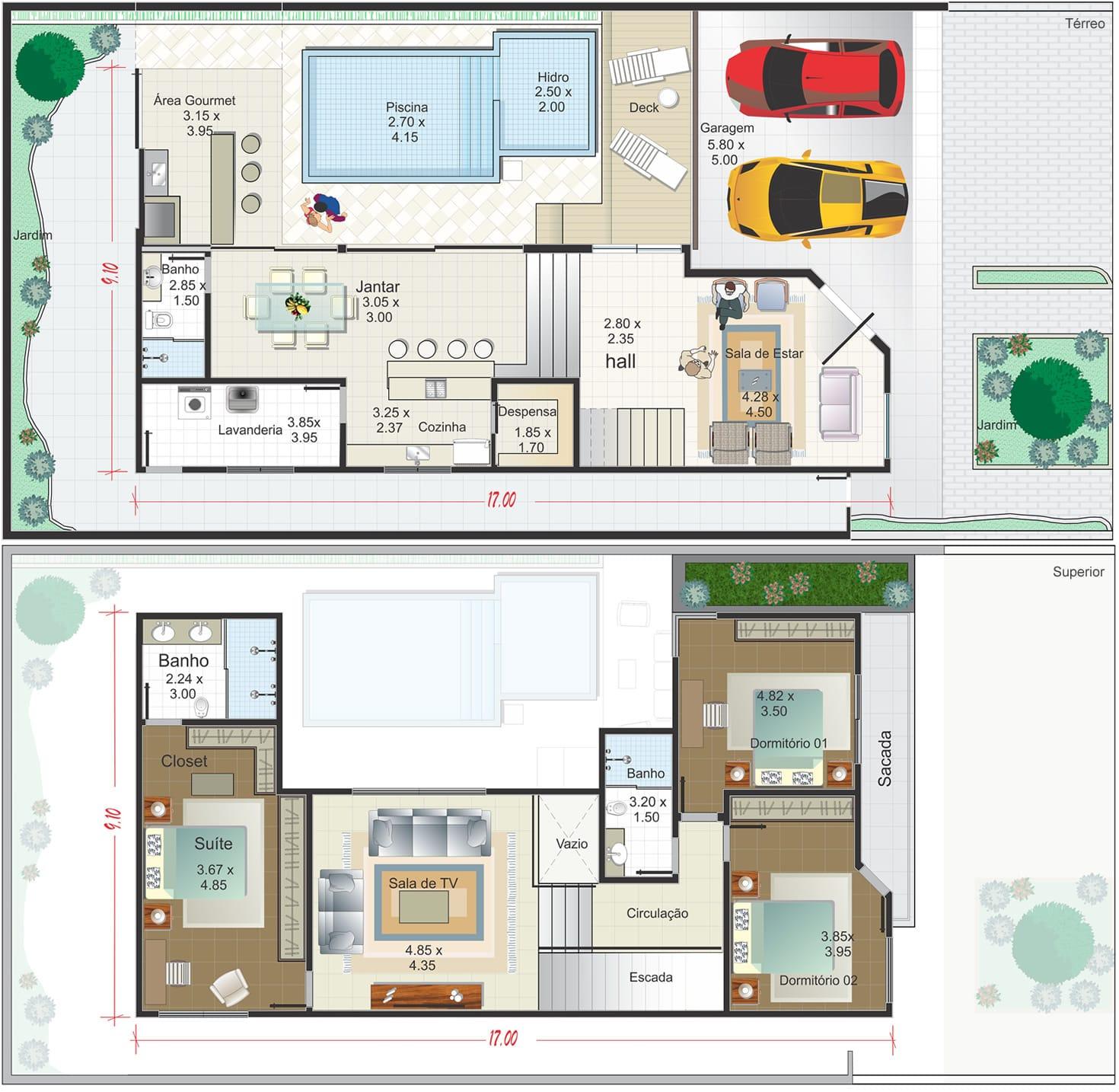 Planta de casa sobrado em l com piscina projetos de for Case con 2 master suite
